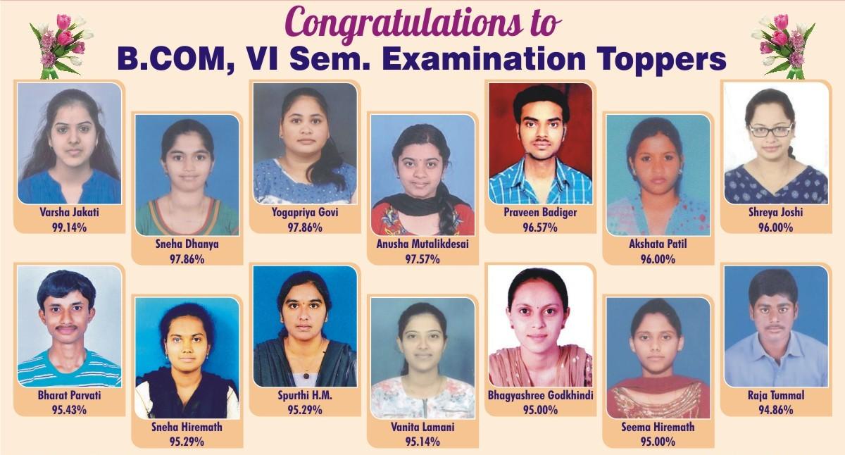 B.Com VI Sem Examination Toppers