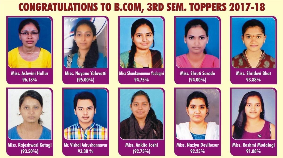 B.Com III Sem Examination Toppers