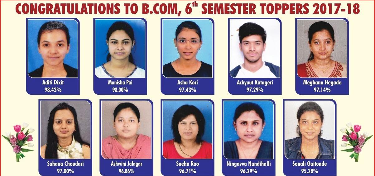B.Com V Sem Examination Toppers
